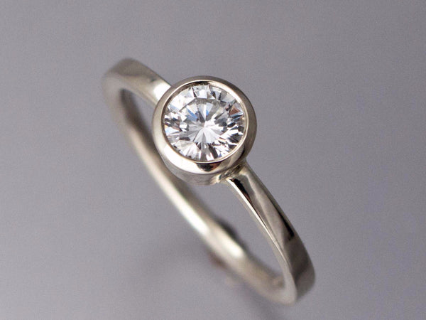 5mm White Sapphire Engagement Ring - Tapered Bezel Solitaire Ring with with a Classic 2mm Square Band in 14k White Gold
