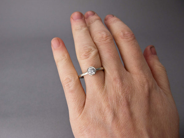 Moissanite Engagement Ring - 4mm-6.5mm Solitaire Ring with a Tapered Bezel and Classic 2mm Square Band in Gold, Palladium or Platinum