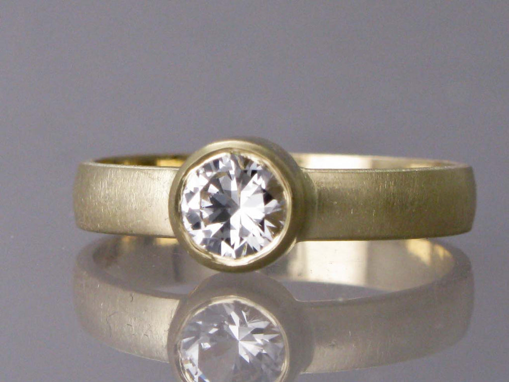 solid thick gold band engagement white cz bridal wedding stone rings jewelry trio stand wide