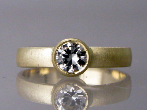Solitaire White Sapphire Engagement Ring with Straight Bezel and a Wide 3mm Wide Half Round Band in Gold or Platinum, Choice of 4-6mm Sapphire