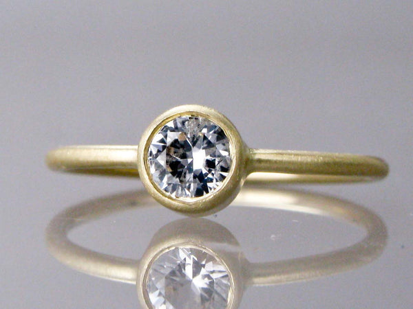 Diamond Engagement Ring - 3mm-5mm Solitaire Ring with Straight Bezel and a 1.3mm Round Band in Gold, Palladium or Platinum