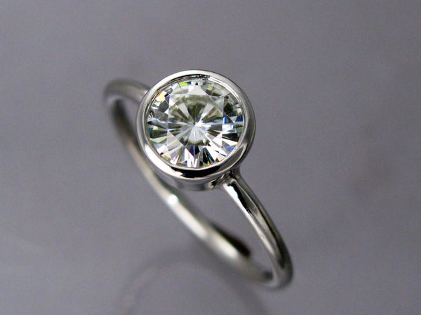 6.5mm Moissanite and Palladium Engagement Ring with a 1.6mm Round Band