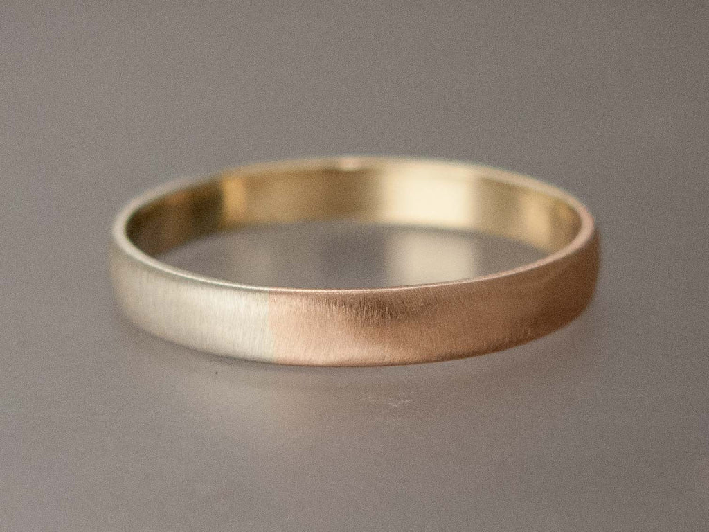Mixed Gold Wide Half Round Wedding Band Or Anniversary Ring In Yellow White And Rose