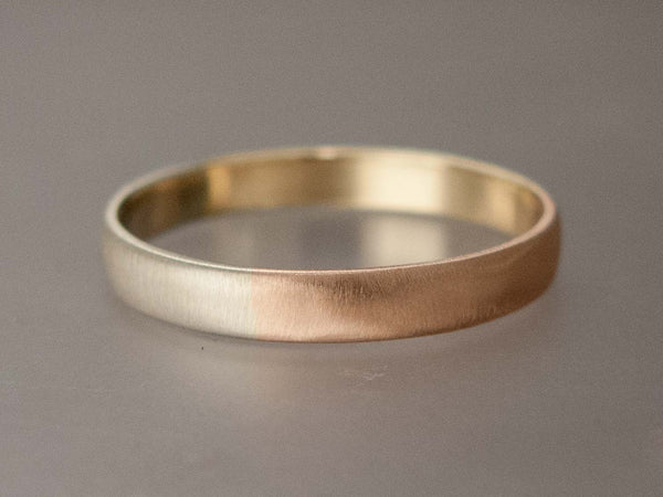Mixed Gold Wide Half Round Wedding Band or Anniversary Ring in Yellow, White and Rose Gold