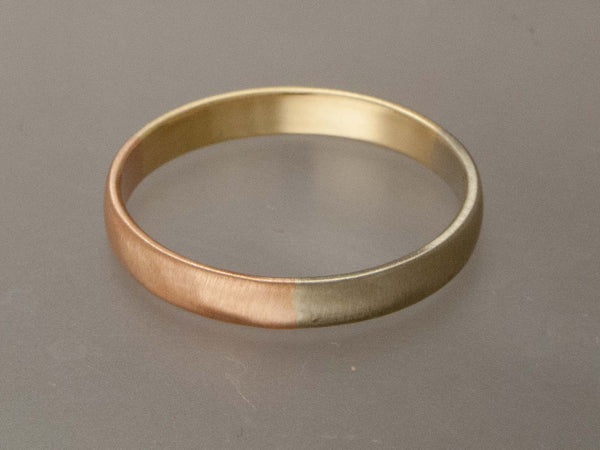 Tri Tone Gold Wedding Band in 14k White, Rose and Yellow Gold