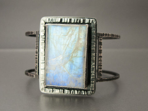 Rainbow Moonstone Sterling Silver Statement Cuff Bracelet