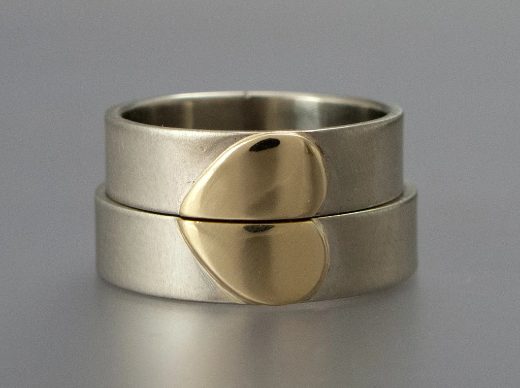Heart of Gold Wedding Bands in 14k White Yellow or Rose Gold  | 10mm Heart