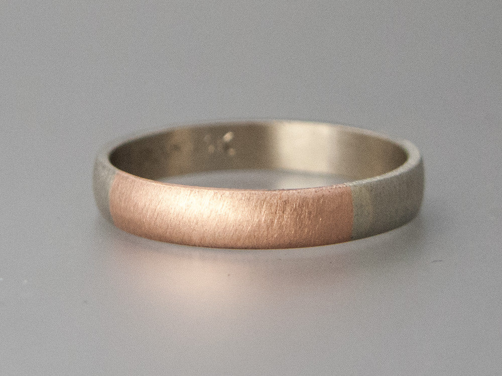 Wide Two Tone Wedding Band - 14k Gold Half Round Round Married Ring in a mix of White, Yellow or Rose Gold