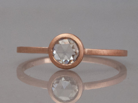 5mm Rose Cut Moissanite Engagement Ring in 14k Rose Gold Ready to Ship in Size 7