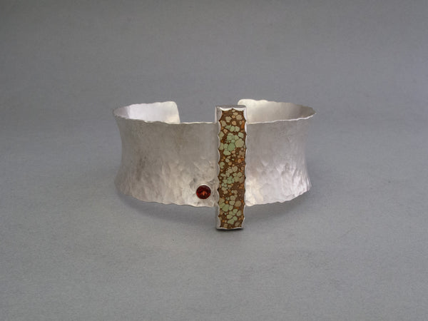 Hubei Turquoise and Garnet Statement Cuff Bracelet in Hammered Sterling Silver