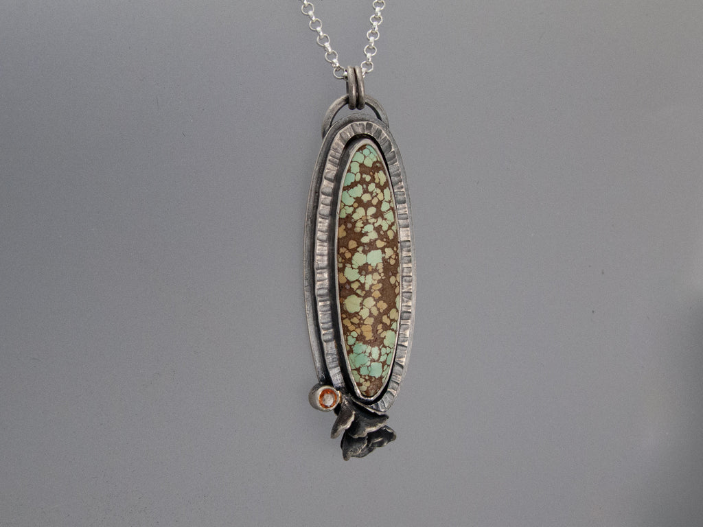 Turquoise and Golden Sapphire Necklace in Sterling Silver with a Hand Cast Succulent