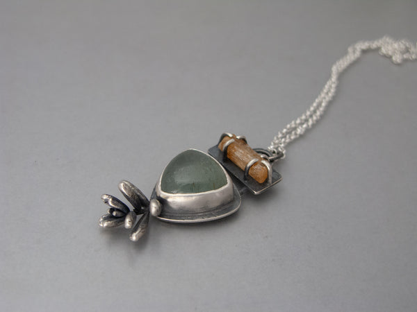 Sterling Silver Hand Cast Succulent Aquamarine and Raw Imperial Topaz Necklace