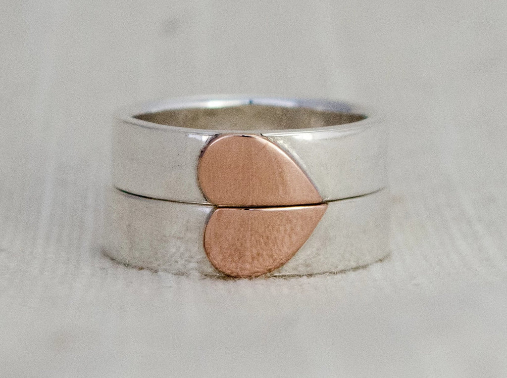 Gold Heart Wedding Ring Set in Sterling Silver and 14k Yellow or Rose Gold | 10mm Heart
