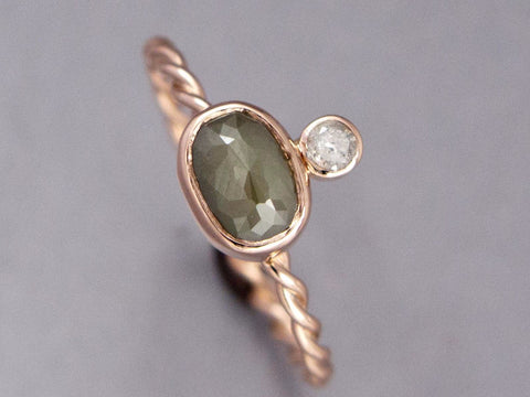 Olive Green Rose Cut Oval Diamond Engagement Ring in 14k Rose Gold