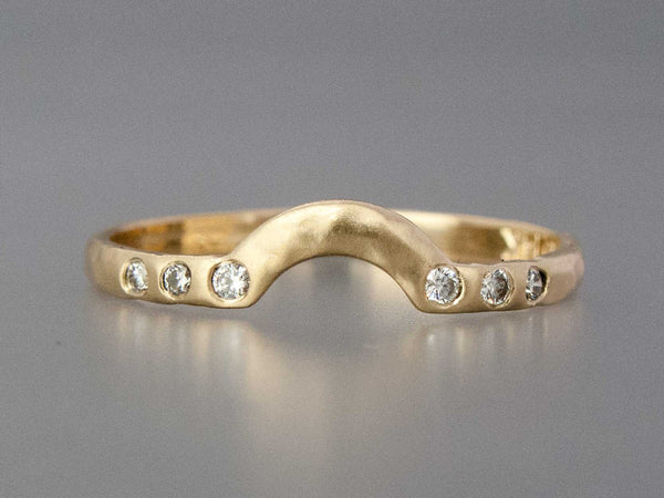 Diamond Contour Wedding Band Custom Made in Gold, Palladium, or Platinum