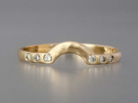 Diamond Contour Wedding Band Custom Made in Gold or Platinum