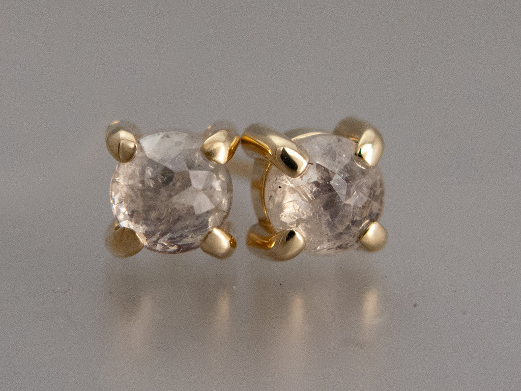 Ice White Rose Cut Diamond Studs in 14k Yellow Gold, 0.52 carat, Ready to Ship