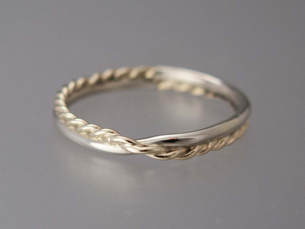 Womens Two Tone Gold Mobius Twist Wedding Band by Shirlee Grund Jewelry