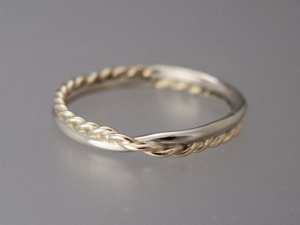 Women's Two Tone Gold Mobius Twist Wedding Band