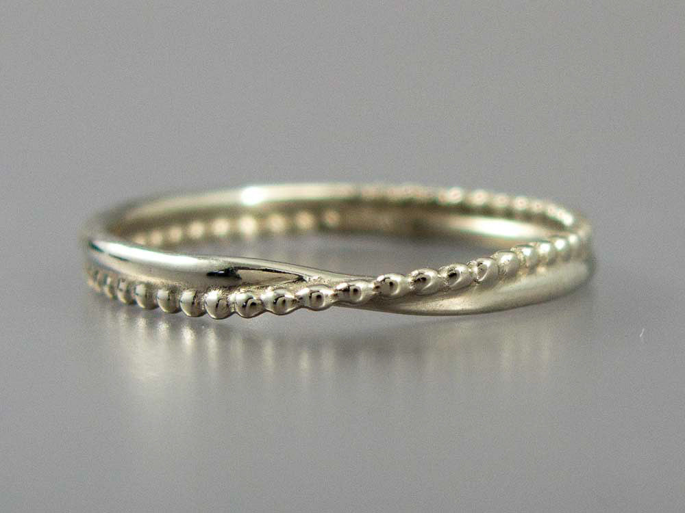 White Gold Wave Wedding Band