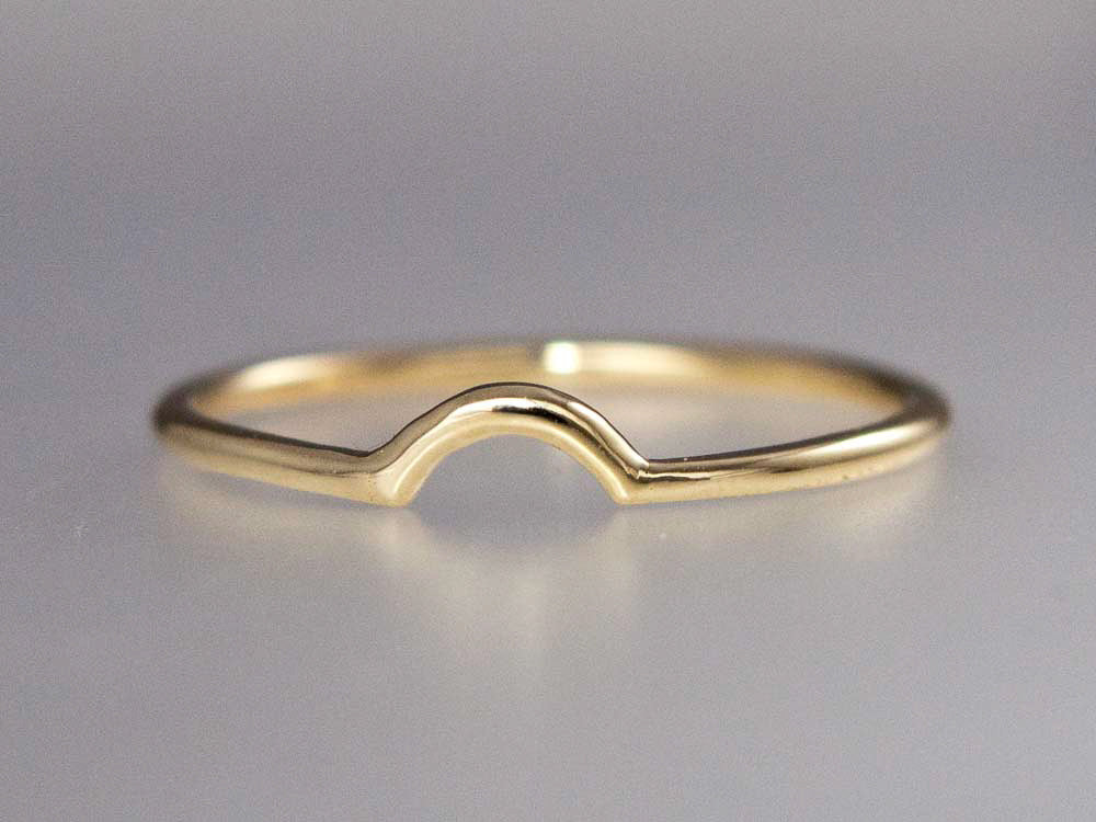 Curved Round Wedding Band Custom Made in Gold, Palladium, or Platinum