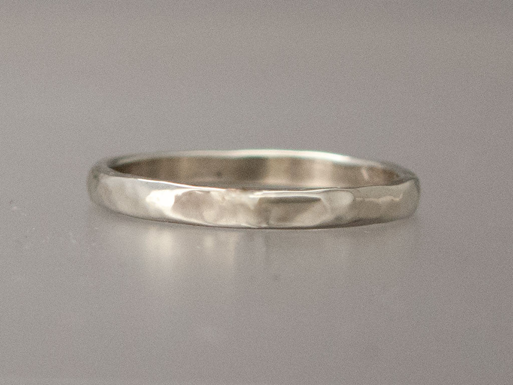 Narrow Flat Hammered Wedding Band