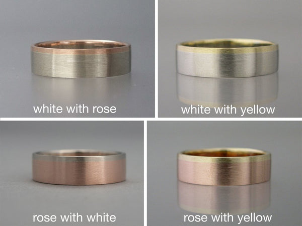 Married Metals Wide Flat Wedding Band with Gold Rail - Two Tone Wedding Ring in Mixed White, Rose or Yellow Gold