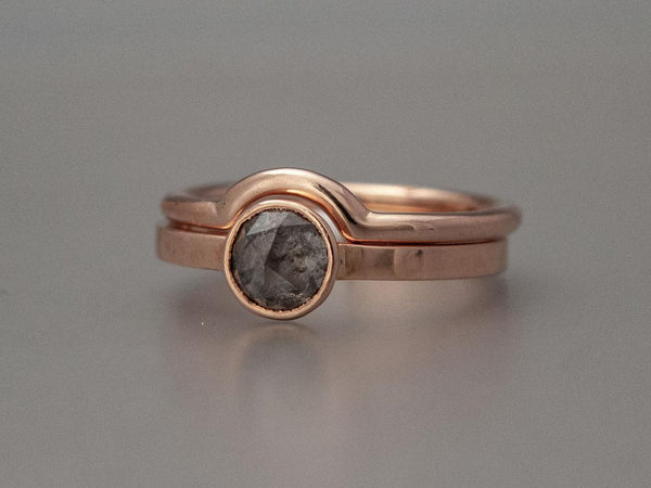 Custom Rose Cut Diamond Solitaire Engagement Ring with Low Tapered Bezel in 14k Gold