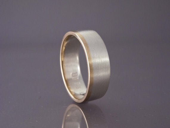 Married Metals Wide Flat Sterling Silver Wedding Band with Gold Rail - Choice of White, Rose or Yellow Gold