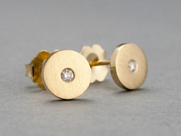Diamond Gold Disk Studs 6mm circle earrings with flush set diamonds centers
