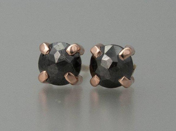 Rose Cut Black Diamond and 14k Rose Gold Studs, 0.77 carat, Ready to Ship