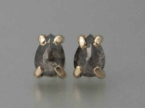 Rose Cut Salt and Pepper Pear Diamonds in 14k Yellow Gold Prong Earrings Ready to Ship