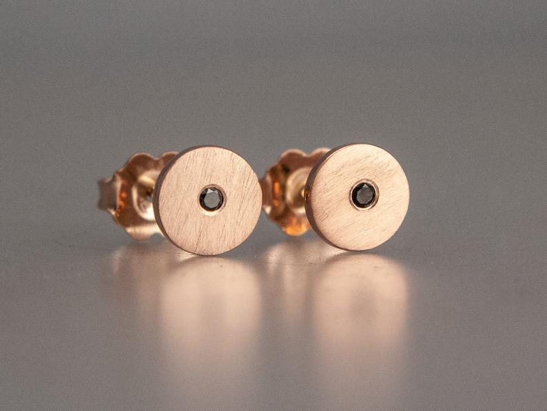 Black Diamond Rose Gold Disk Studs 6mm circle earrings with flush set diamond accents