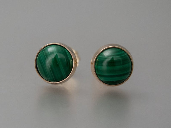 Green Malachite Gold Stud Earrings, 6mm solid 14k gold settings, posts and backs