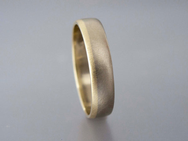 Domed Two Tone Wide Wedding Band with Gold Rail - Married Metals Wedding Ring in Mixed White, Rose or Yellow Gold