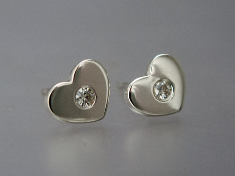 Gold Heart Studs with Diamonds - Diamond Earrings in 14k White, Rose or Yellow Gold