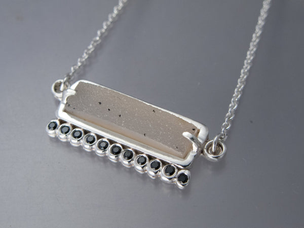 Drusy Agate and Back Spinel Necklace in Sterling Silver
