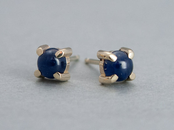 Blue Sapphire Cabochon Studs in 14k Gold Prong Settings - Choice of rose, yellow or white gold