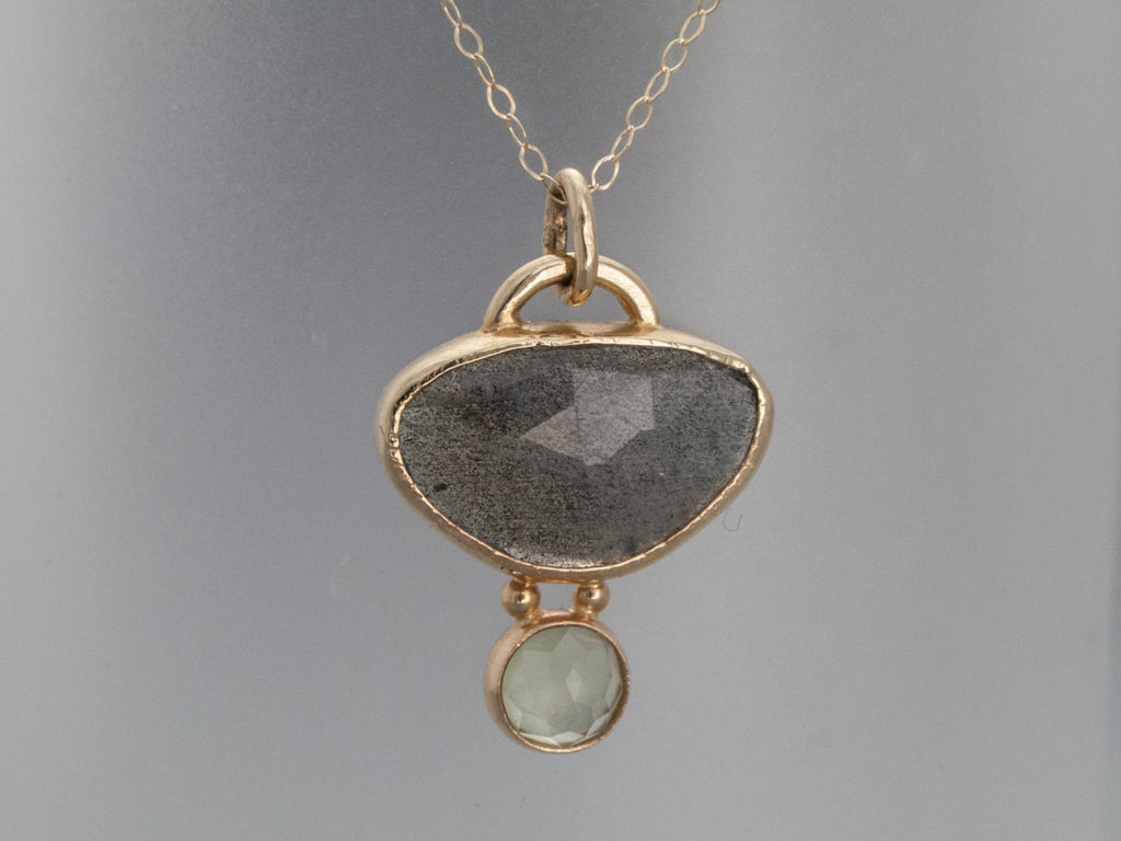 Rose Cut Labradorite, Prehnite and Gold Necklace - One of a Kind Gemstone Pendant in Solid Gold