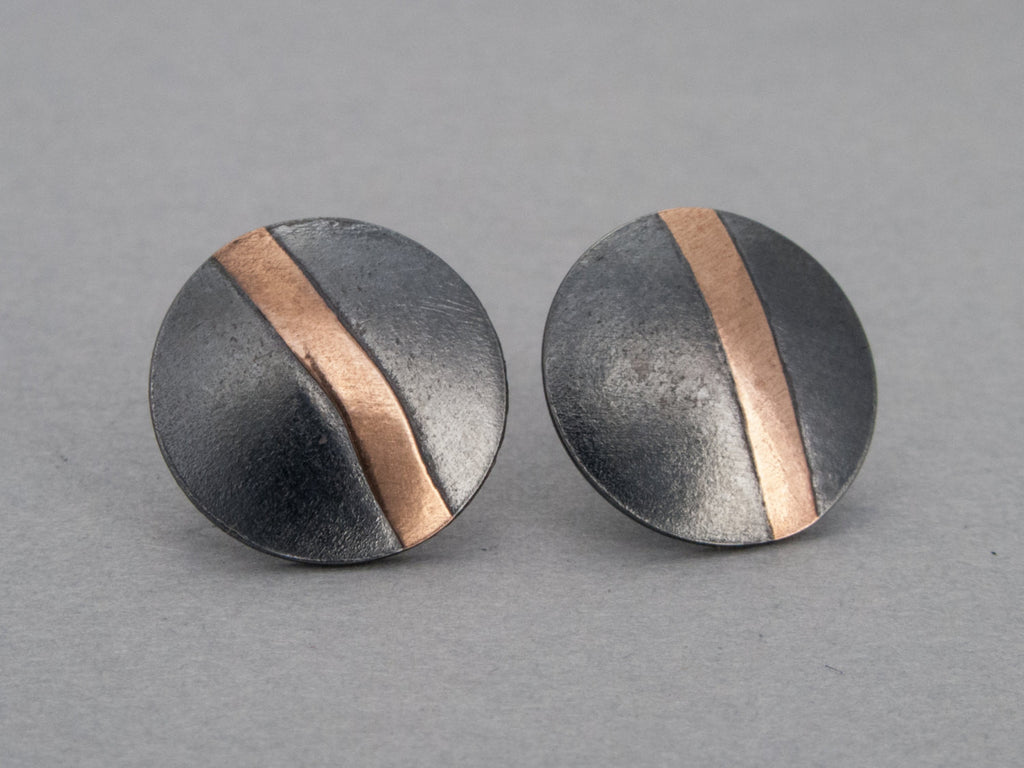 Rose Gold and Black Sterling Silver Circle Stud Earrings - Ready to Ship