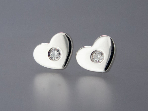 Heart Studs in Sterling Silver and Moissanite - Diamond Alternative Earrings