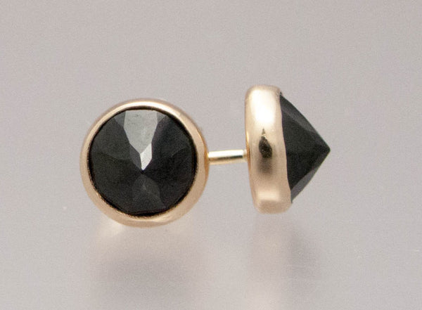 Black Spinel and Gold Spikes - 6mm solid 14k yellow gold Stud Earrings - Ready to Ship