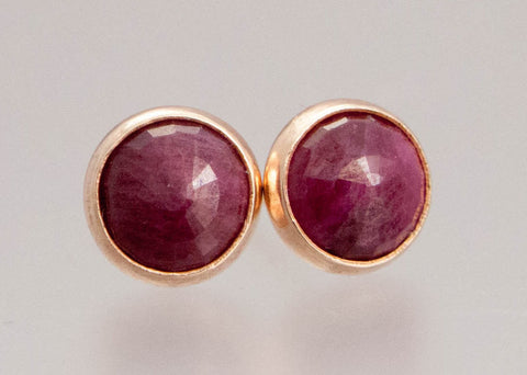Ruby and Rose Gold Studs - 6mm Rubies in solid 14k rose gold bezels, posts and backs - Ready to Ship