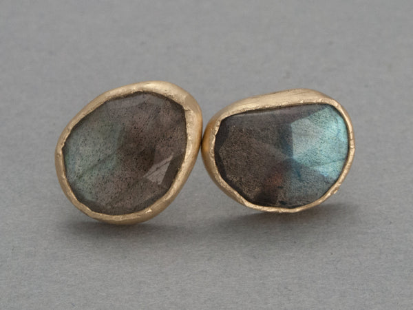 Rose Cut Labradorite and Yellow Gold Studs - One of a Kind Gemstone Earrings in Solid Gold Bezels - Ready to Ship