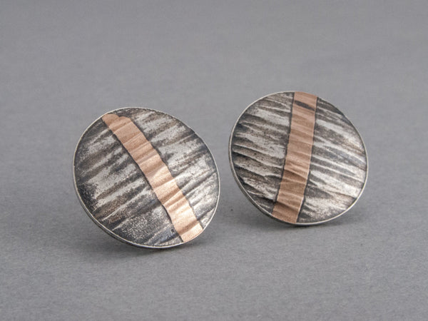 Rose Gold and Black Sterling Silver Hammered Circle Stud Earrings - Ready to Ship
