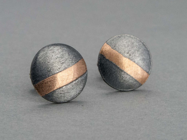 Small Rose Gold and Black Sterling Silver Circle Stud Earrings - Ready to Ship