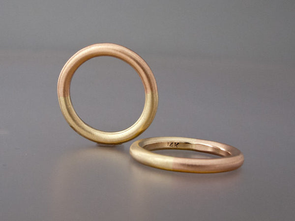 Two Tone Gold Round Women's Wedding Ring | 50/50 Partnership Band in Rose Yellow or White Gold