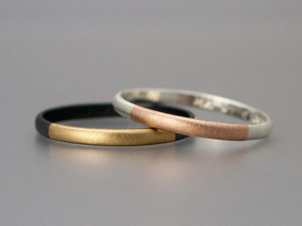 Mixed Metals Half Round Round Band in Sterling Silver with Yellow or Rose gold
