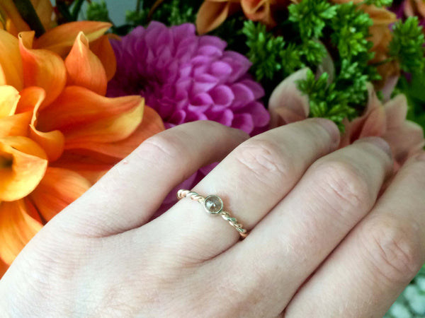 Round Rose Cut Diamond Engagement Ring with Two Tone 14k Gold Rope Twist Band | Choose Your Round Diamond and Gold Color
