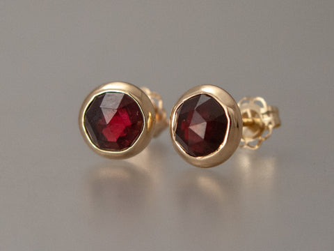 6mm Rose Cut Garnet Gold Studs in 14k Yellow Gold Bezels, ready to ship